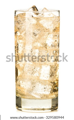 Ginger Ale or Apple Juice in a tall highball glass with ice cubes isolated on white background