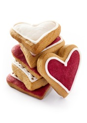 Ginger Heart shaped cookies for Valentine's Day. Isolated on white background
