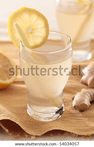 stock photo : ginger lemon drink, spice and juicy beverage.