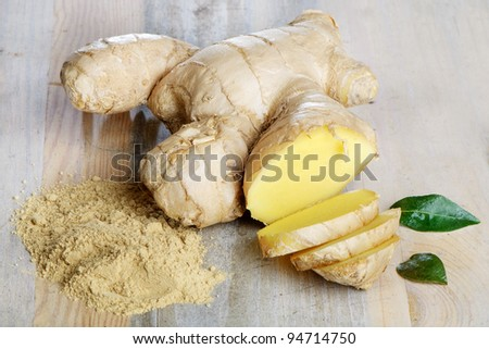 Ginger on a wooden table