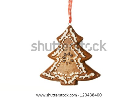 ginger pine tree Christmas decoration on white background