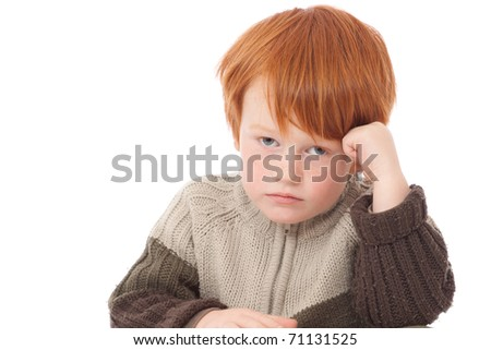 Ginger red hair haired boy sad bored face isolated on white