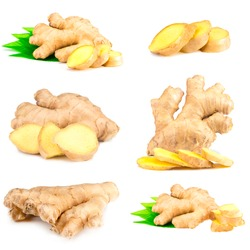 Ginger root on a white background.Collage.