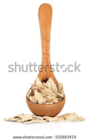 Ginger root used in chinese herbal medicine on white background. Gan jiang, rhizoma zingiberis.