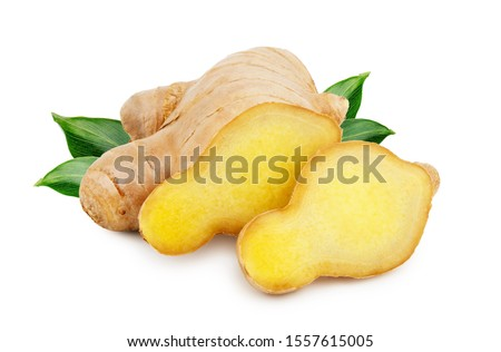 Ginger root with leaves isolated on white background