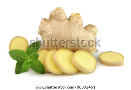 ginger root with mint close up