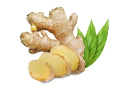 Ginger roots with leaves, isolated on white background.