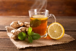 ginger tea with mint and lemon