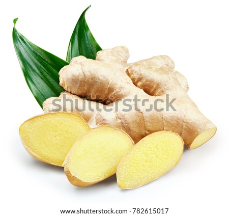 Ginger with leaves Isolated on a white Clipping Path Foto d'archivio ©