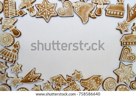 Gingerbread, Border, Christmas, Gingerbread cookies vector frame, Food dessert decoration christmas, sweet ginger and biscuit illustration #758586640