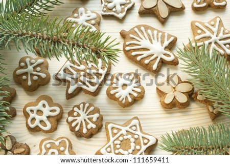 gingerbread christmas cookies with pine branch on wooden - stock photo