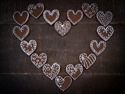 Gingerbread cookie heart with write in woards - LOVE, HOPE! Can be used like a background, canva, frames or anything else U can imagine...