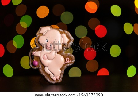 gingerbread cookie of funny pink pig over defocused colored lights of garland. Traditional Christmas food. Christmas and New Year holiday concept #1569373090