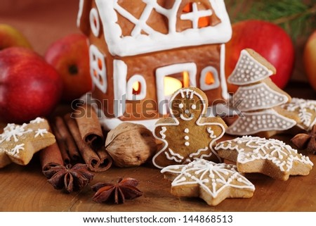 Gingerbread cookies and decorations.