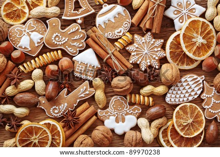 Gingerbread cookies and spices close up