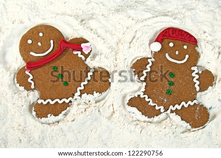 Gingerbread Cookies Making Snow Angels Stock Photo 122290756 ...