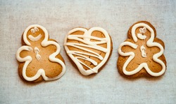 Gingerbread cookies on canvas