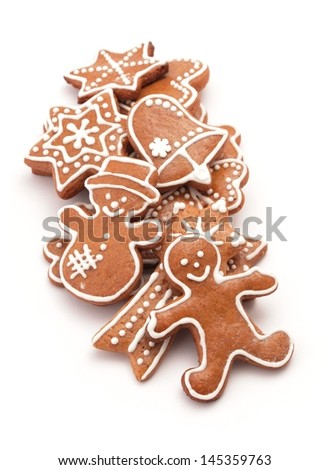 Gingerbread cookies on white background.