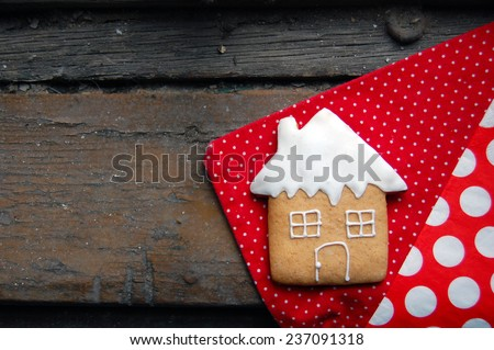 gingerbread cookies on wooden table  #237091318