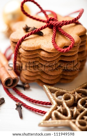 Gingerbread cookies tied with a red string