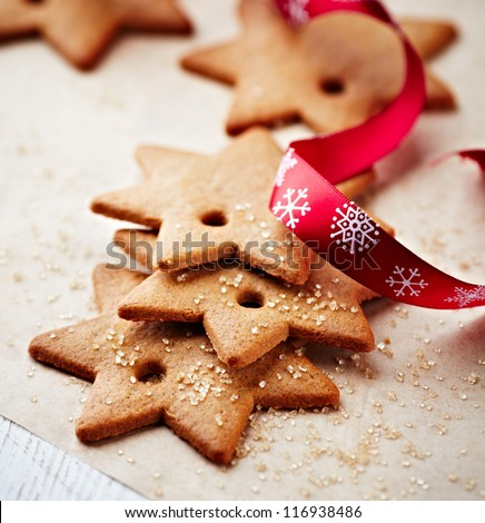 Gingerbread cookies with christmas ribbon - stock photo
