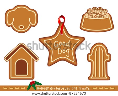 Gingerbread Dog Treats. Good dogs get tasty Christmas cookies with icing: star ornament with ribbon, doghouse, dog face, fire hydrant, dog dish with kibble.