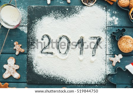 Gingerbread dough for Christmas cookies and Happy New Year 2017