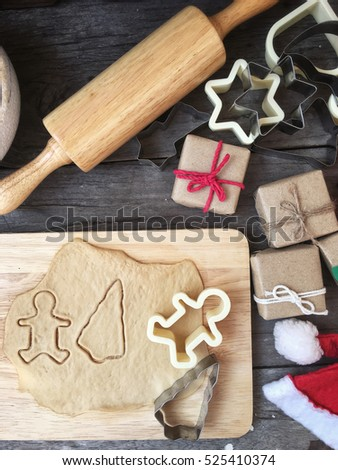 Gingerbread dough with christmas decorations #525410374