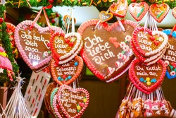 Gingerbread Hearts at German Christmas Market. Nuremberg, Munich, Fulda xmas market in Germany.On traditional ginger bread cookies written