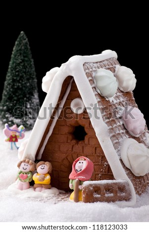 Gingerbread house on fake snow with black background.