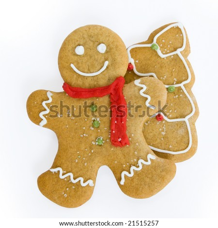 Gingerbread man and christmas tree cookies