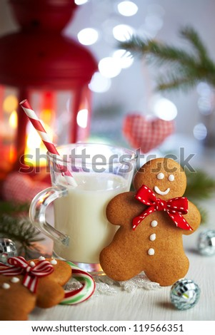 Gingerbread man and cup of milk for Santa