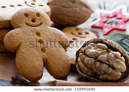 Gingerbread man - Christmas cookies and nuts