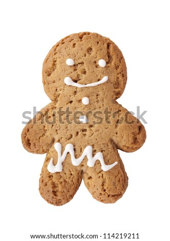 Gingerbread man cookie. Isolated on white background