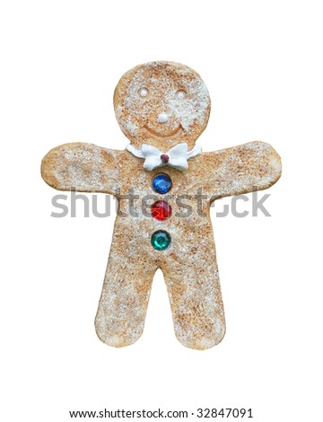 gingerbread man cookie on isolated white background