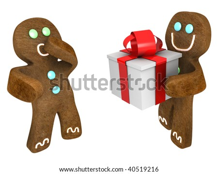 Gingerbread man giving present to friend
