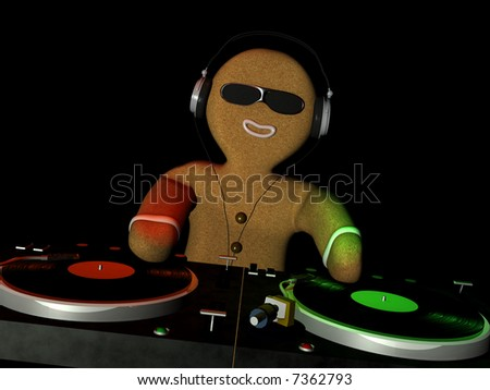 Gingerbread Man is in Da House and mixing up some Christmas cheer.  Turntables with vinyl albums. Isolated on a black background