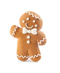 Gingerbread man isolated on white. Delicious Christmas cookie