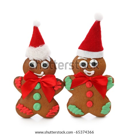 Gingerbread men isolated on white background