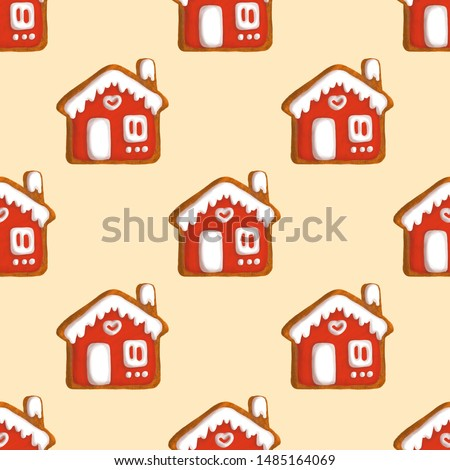 Gingerbread seamless pattern. Gingerbread man and a house in the icing will decorate the festive design.