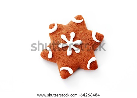 gingerbread star on white background - sweet food