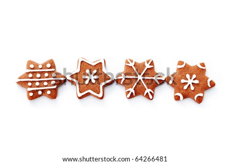 gingerbread stars on white background - sweet food - stock photo