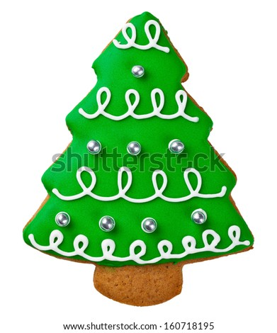 Gingerbread tree isolated on white background. Christmas cookie