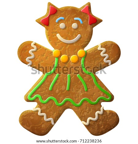 Gingerbread woman decorated colored icing. Holiday cookie in shape of girl. Illustration for new years day, christmas, winter holiday, cooking, new years eve, food, silvester, etc