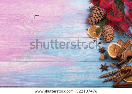 Gingerbreads for new years and christmas on wooden background, xmas theme #522107476