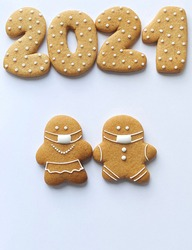 Gingerbreads in masks for 2021 COVID wallpapers