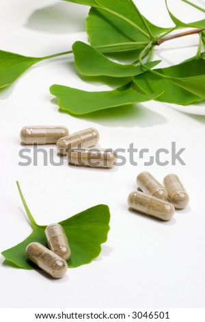 Ginkgo Biloba extract pills and fresh Ginkgo Biloba leaves best suited for aged people alternative medicine ads