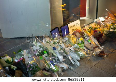 GINZA, TOKYO- OCTOBER 7: Steve Jobs tributes by fans at Ginza's Apple store. October 7, 2011 in Tokyo, Japan.