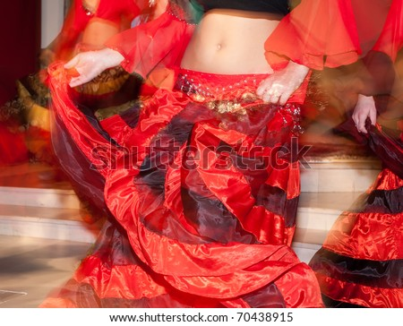gipsy girls are dancing - stock photo