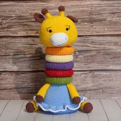 Giraffe Amigurumi edicational toy for childrens. Hand made female giraffe.